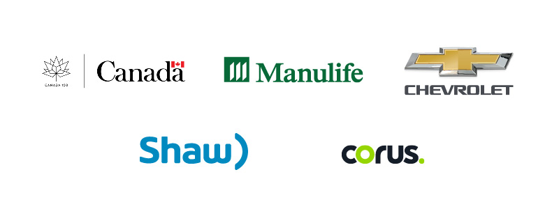 150 Play List Partner Logos: Canada 150 Secretariat, Manulife, Chevrolet, Shaw and Corus